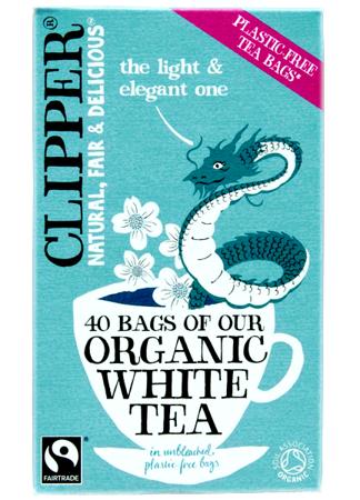 Biała herbata organiczna, 40 saszetek Clipper