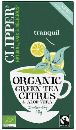 Zielona herbata z cytryną i aloesem organiczna, 20 saszetek Clipper